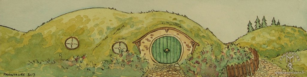 La Comté - Hobbiton - The Shire 02 (Ink and watercolor) ©Paontaure