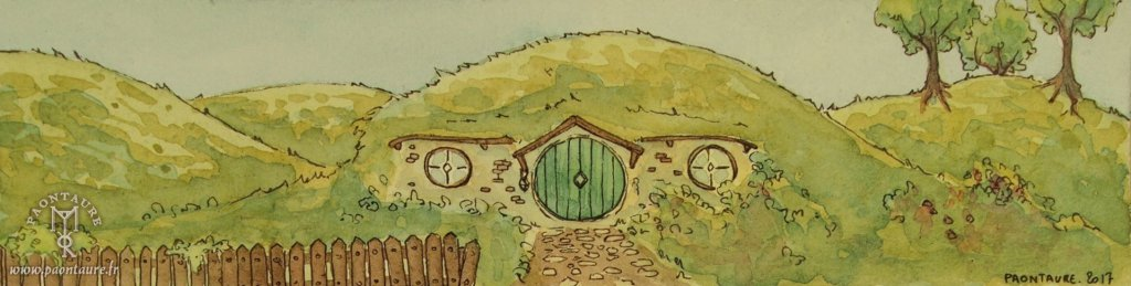 La Comté - Hobbiton - The Shire 03 (Ink and watercolor) ©Paontaure