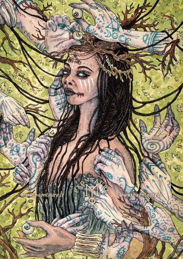 La prêtresse aveugle (crayon graphite, crayons de couleur, encre, aquarelle, acrylique) 2019 ©Paontaure