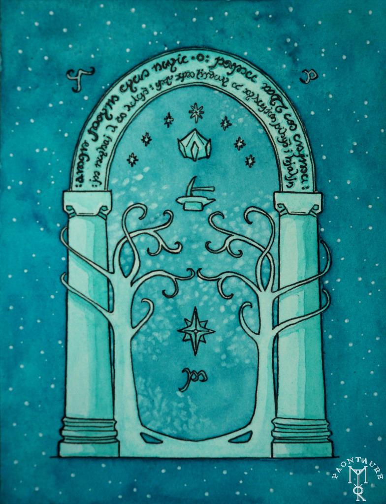 Fanart LOTR - Doors of Durin - Portes de la Moria 01 (encre et aquarelle) - 2016 ©Paontaure