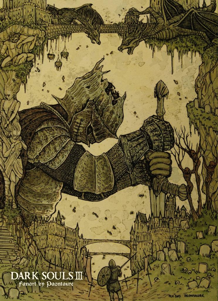 Fanart Dark Souls III (crayon graphite, encre, aquarelle, et arrangements sur psp) - 2017 ©Paontaure