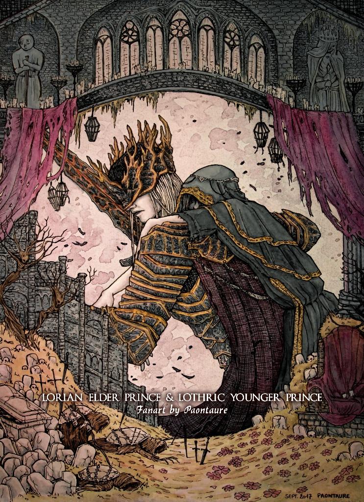 Fanart Dark Souls III - Princes Lorian et Lothric (crayon graphite, encre, aquarelle, et arrangements sur Ps) - 2017 ©Paontaure