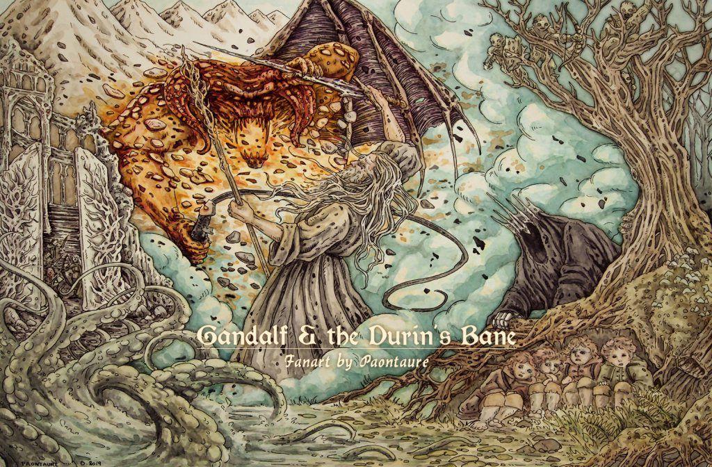 Gandalf et le fléau de Durin - (encre, crayon graphite, aquarelle extra-fine et arrangements sur psp) - 2019 ©Paontaure