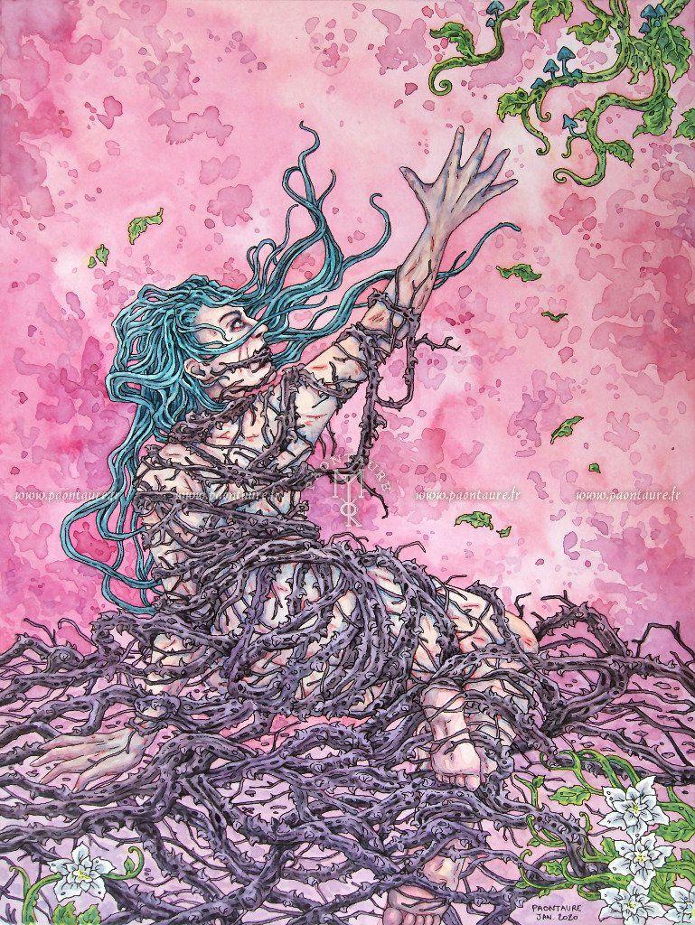 Piégée (crayon graphite, encre, aquarelle) 2020 ©Paontaure